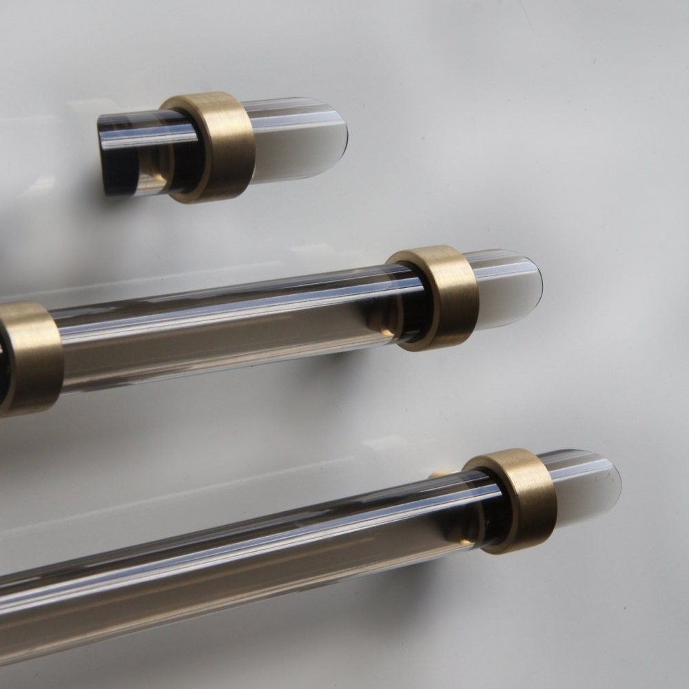 3/4 DIA Smoke Lucite Drawer Pull All Finishes