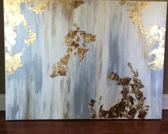 Beautiful 3ft x 4ft silver and gold canvas!