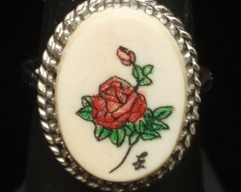 Sterling Silver Imitation Ivory Ring with Rose