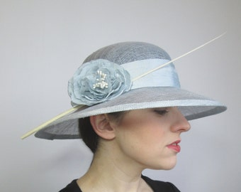 Summer Wedding Hat, Races Hat, Womens Hat, Sinamay Hat, Ladies Occasion Hat, Blue Hat, Mother of the Bride, Ascot Hat, Derby Hat, Millinery
