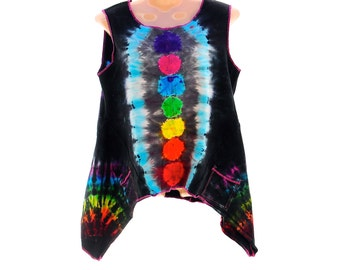 Tie Dye Chakra Tank, Orgainc Cotton Flowy Tunic, Home Sewn Clothes, Hippie Zen Clothing, OOAK Trippy Rainbow Top, Cute Summer Clothes