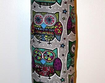 Grocery Bag Holder, Plastic Bag Holder/Dispenser / Colorful Zentangle Owls