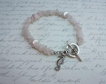 Pink quartz nuggets bracelet with seahorse charm