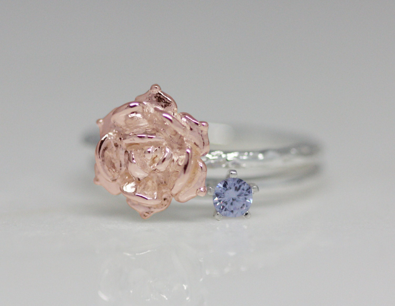 June birth flower and stone ring set birth flower ring birth