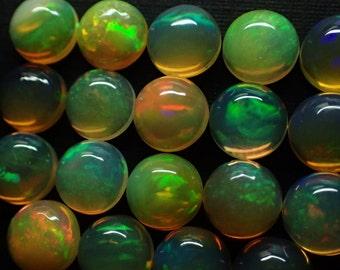 ONE 7mm Opal cabochon - .95ct each / round fire flash opal stones chosen at random