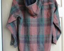 Plaid Flannel Hoodie Warm Medium/Large Hood Hooded Jacket Coat Detachable Hood Paragraff Wool