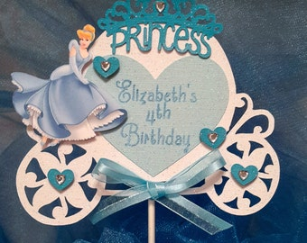 Cinderella Cake Topper, Princess Cake Topper, Cinderella Decoration,Cinderella Birthday Cake Topper,Carriage Cake Topper,Princess Decoration