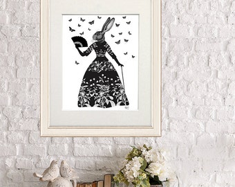 Black Rabbit Print - rabbit Silhouette art print black and white decor black rabbit art black rabbit wall art lowbrow art dark fairytale