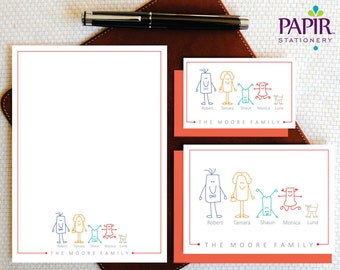 Personalized Family Stationery Set, Personalized Cards and Personalized Notepad, Family Stationary Set, SQUARE CHARACTERS, FCS011