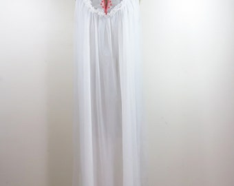 Vintage Miss Elaine White Flowing nightgown with red rose accent- one size fits most- see listing for condition