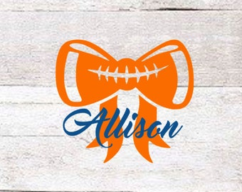 Football Bow Name Decal | Football Decal | Yeti Football Decal | Team Decal | College Decal | Team Pride Decal