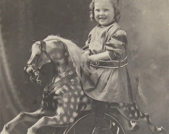 "Wonderful Little Girl On Her Rocking Horse Photograph On Cardboard 6"" x 8"" - Free Shipping"