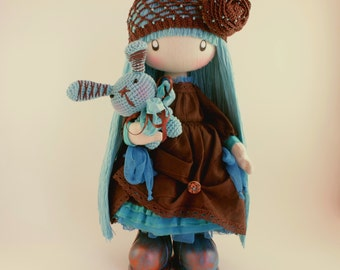 RAG DOLL Mimi made to order cloth gift ideas brown and turquoise
