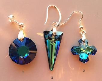 Blue Crystal Earrings - Round, Spike and Greek Cross Swarovski Bermuda Blue