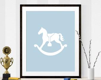 Baby Blue Rocking Horse Print, Nursery Print, Blue Art, Printable Art, Rocking Horse, Rocking Horse Art, Rocking Horse Art Print,Wall Prints