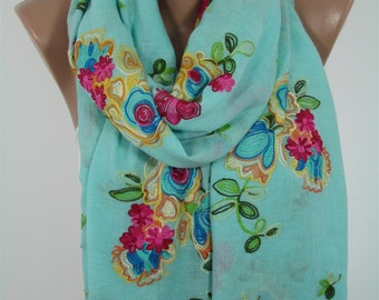 Embroidery Scarf Soft Cotton Scarf Mint Scarf Shawl Floral Embroidered Scarf Christmas Gift For Her Fall Winter Women Fashion Accessories