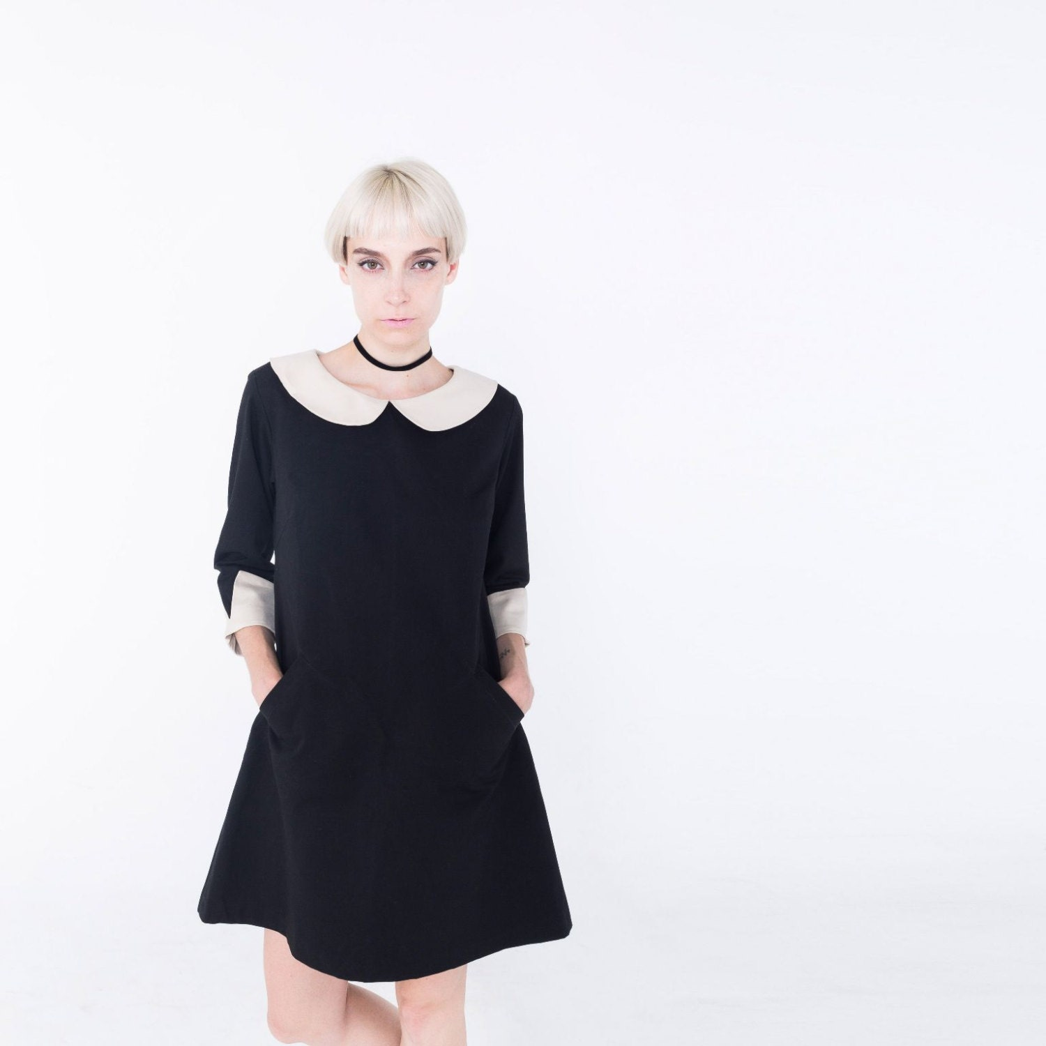 Black dress with white peter pan collar - Wednesday Addams Halloween Dress Costume Black Dress With White Round Or Square Collar