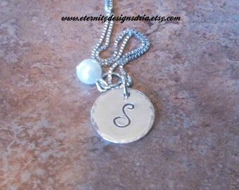 Personalized Initial Monogram Necklace,Pearl Necklace