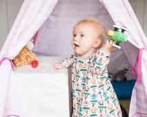 ORGANIC Elephant dress -Pink Tunic dress with zoo animal -Baby jersey dress with trees -Long sleeve toddler dress - Elephant Shirt dress.
