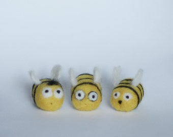 3 little needle felted bees