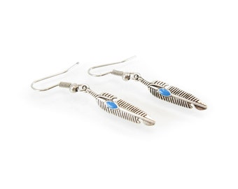 Vintage Feather Earrings, Blue Enamel, Silver Tone, Hooks