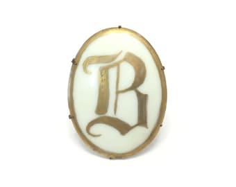 Vintage Monogram B Brooch, Porcelain, Gold Tone, Cursive B, C Clasp