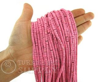 Hand Cut Afghan Beads 4mm Pink Heishi Bead Strands Howlite Seed Beads One 1 Full Strand Semiprecious Gemstone Beads, Loose Beads