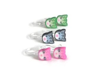 Cat Earrings Slip On Earrings Metal Free Earrings Hypoallergenic for sensitive ears Perfect for everyday wear Set of Three