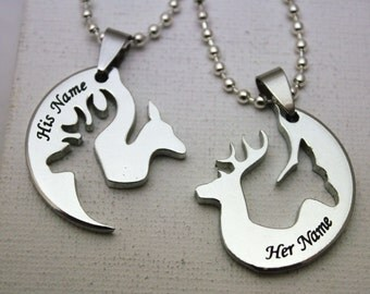 Buck Doe Deer Head His Hers Interlocking Promise Necklace Valentines Gift  Set For Browning Buckmark Hunting