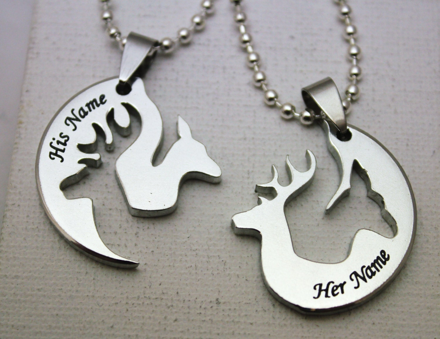 buck doe deer his hers couples promise necklace pendant