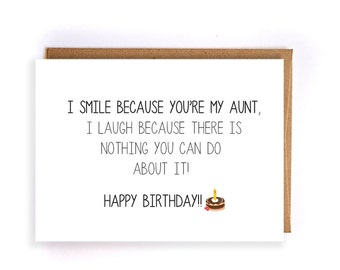 funny happy birthday card for aunt, blank greeting cards, cute handmade greeting cards, custom birthday cards funny GC89