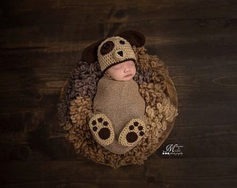 Pattern - Crochet Newborn Puppy Hat and Matching Paw Print Booties Photo Prop, Baby Hat and Shoes Costume, Crochet Pattern Newborn Outfit