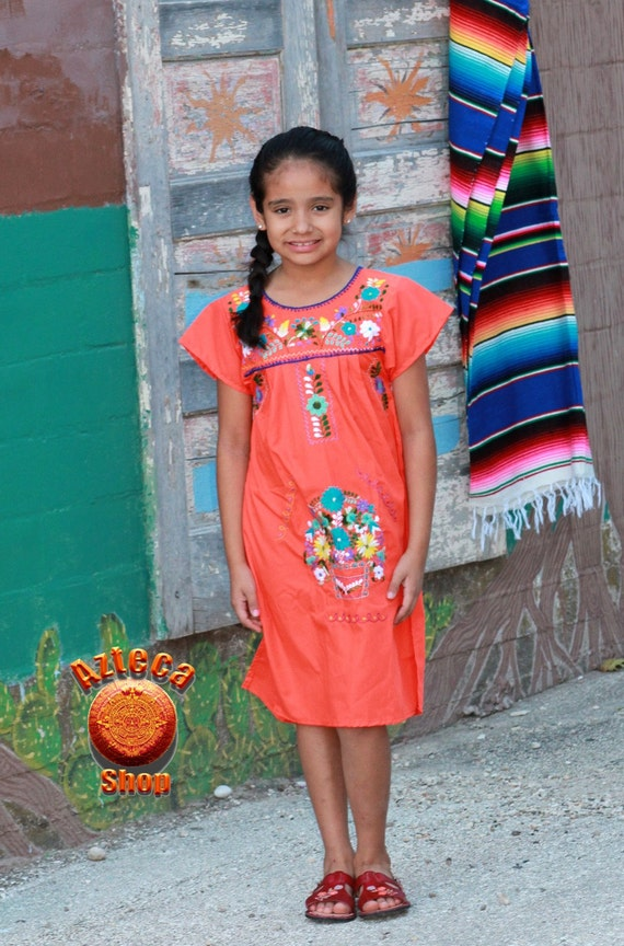 Orange Mexican Dress Puebla for Girls Age 8 by AztecaShop