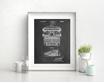 School Typewriter Patent Poster, Typewriter Print, Antique, Business Art, Office Decor, Secretary Gift, Vintage Typewriter, PP1029 Z1016