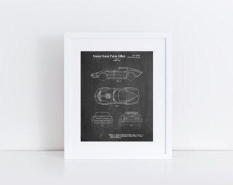 Corvette 1966 Mako Shark II Patent Poster, Corvette Print, Classic Car Decor, Corvette Art, PP0021