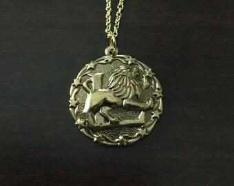 gold Leo necklace, Leo necklace, Leo zodiac necklace, Leo zodiac jewelry, Leo, Leo zodiac, zodiac Leo, Leo jewelry, Leo pendant, necklace
