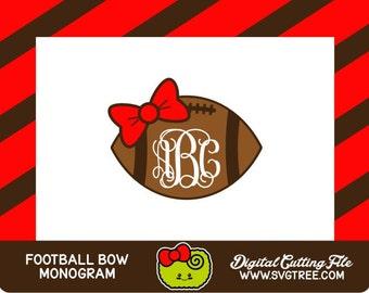 Football Monogram SVG, Football Girlfriend, Bow Monogram, SVG Files, Vector Art, Cricut Design Space, Silhouette Studio, Digital Cut Files
