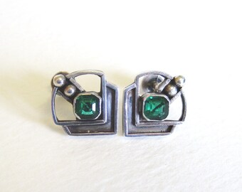 Art Deco Screw Back Earrings, Sterling Silver and Emerald Green Stone