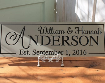 Personalized family name sign wood sign  CARVED Established Sign Plaque Last Name Sign  Wall Sign Engraved Personalized