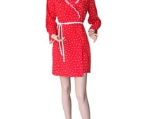 Lipstick Red 1970s Vintage Scattered Hearts Frock Wrap Dress