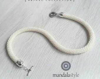 Tubular white/ivory seedbeads necklace/choker