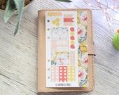 Geometic Flower Personal Weekly Kit; Filofax; Kikki K; Personal Planner; Checklist Stickers, Punched Sticker Sheet; Flower Stickers