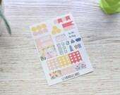 Geometric Flower Pocket Weekly Kit; Vinyl Matt; Filofax; Mini Kit; Flower Stickers, Cleaning Stickers, WO1P; Meal Planning Sticker; Kikki K