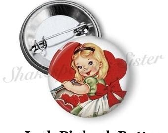 """Valentine Pin - Heart Pin - Pinback Button - Vintage Valentine - 1.5"""" Pinback"""