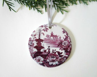 Vintage Style Christmas Tree Ornament - Victorian Christmas Decor - Purple Ornament - Ceramic Tree Ornament - Unique Gift for Mom, Grandma