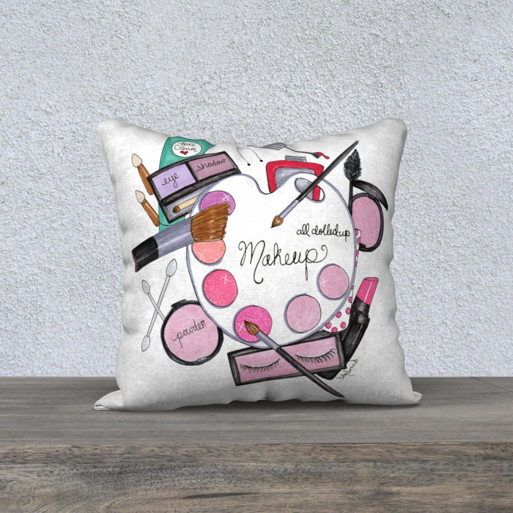 Illustrated pillow  Illustration pillow  Makeup pillows  Girly cushion  covers  Makeup Decorative pillow  Teen room decor  Makeup room decor. Girly pillow   Etsy