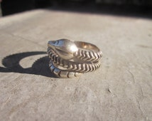 Vintage Ring. Coiled Rattlesnake. Made in Mexico. Eagle Mark