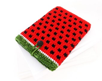 Watermelon Kindle 8 2016 ereader cover, red Kobo Touch 2 case, red Kindle Paperwhite cozy, Nook Glowlight plus sock, Kobo Aura ebook sleeve