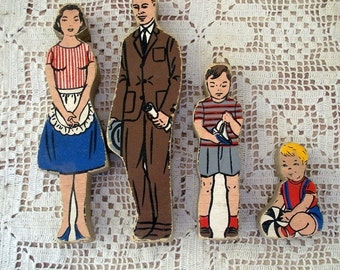 Vintage Wooden Block Family-Set of Four