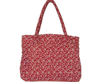 KANTHA Bag - Medium - Red with off-white flowers